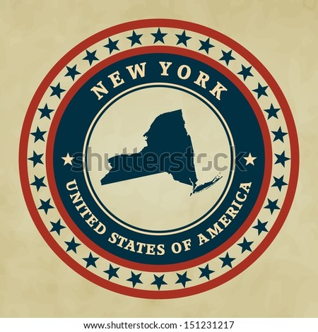 Vintage label with map of New York