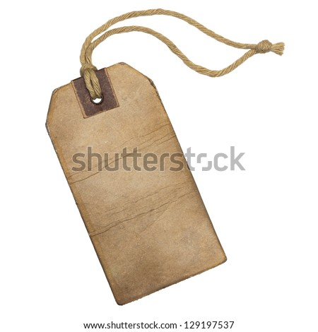 Vintage label with string, isolated on the white background.