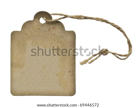 vintage label with string isolated on white