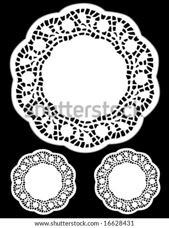 Vintage Lace Doilies, antique design round place mats isolated on black background, for Christmas, holiday celebrations, scrapbooks, albums, setting table, cake decorating, copy space.