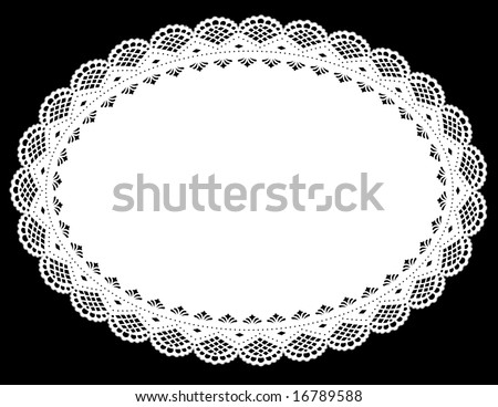 Vintage Lace Doily Place Mat. Antique scalloped border pattern, white oval, black background for setting table, holidays, celebrations, scrapbooks, cake decorating, arts, crafts.