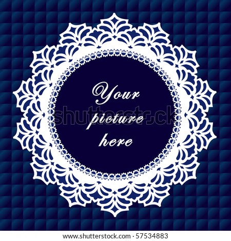Vintage Lace Frame, blue quilted background, round doily border with copy space to customize with pictures or text for albums, scrapbooks, holidays, do it yourself arts, crafts and hobbies.