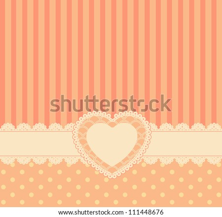 Vintage lace heart with ornaments on background