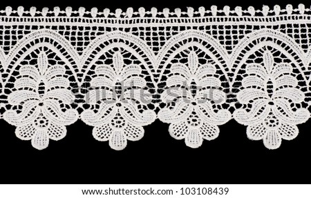 Vintage lace with flowers on white background - stock photo