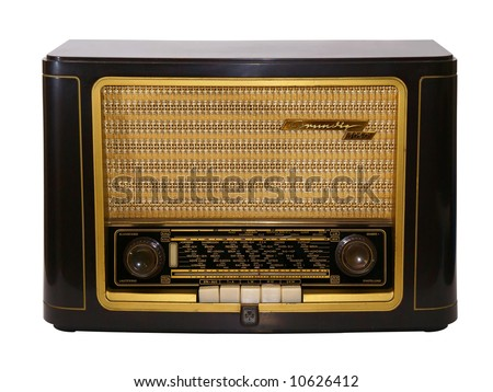 Vintage lamp radio isolated on white - stock photo