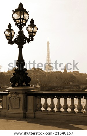 Vintage lamppost on the bridge of Alexandre III in Paris, France