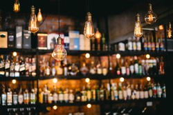 vintage lamps  with liquor bar background