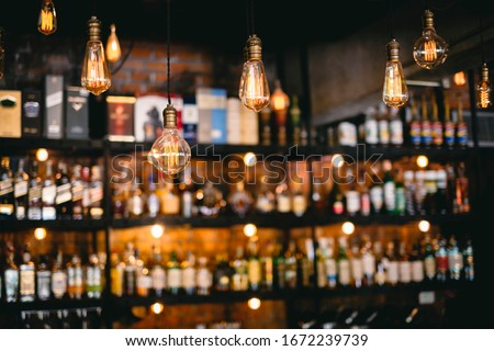 vintage lamps  with liquor bar background Photo stock ©