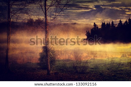 Vintage landscape. Antique style photo with foggy lake and forest.