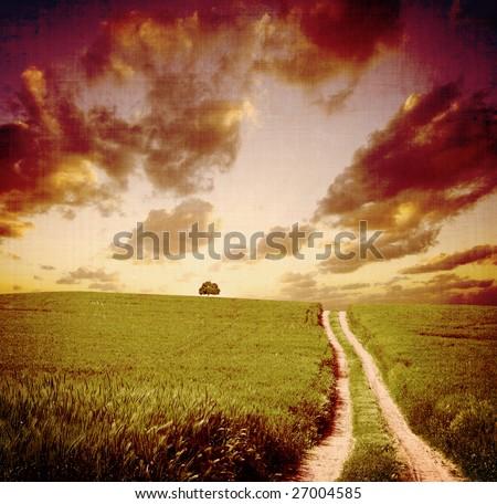 vintage landscape view