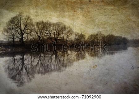 Vintage landscape with tree on river on grunge background