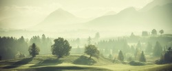 Vintage landscape with trees on hills and beautiful mountains in distance. Retro film filter