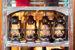 Vintage lantern lights at flea market