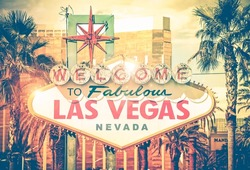 Vintage Las Vegas Photo. Las Vegas Boulevard Entrance Sign. Nevada, United States. Sin City Concept.