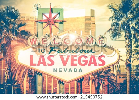 Vintage Las Vegas Photo. Las Vegas Boulevard Entrance Sign. Nevada, United States. Sin City Concept.