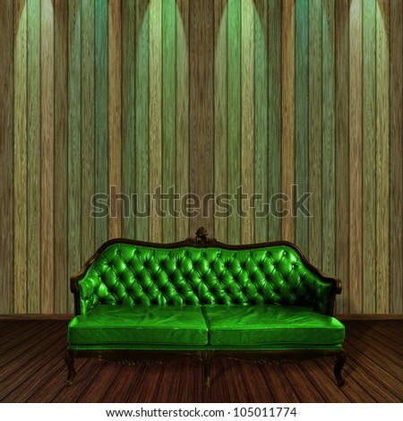 Vintage leather armchair, sofa with wood wall background