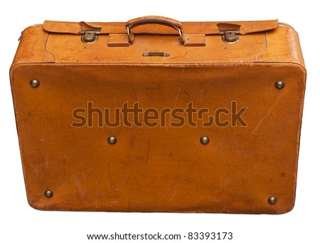 Vintage leather suitcase isolated on white. Clipping path included.