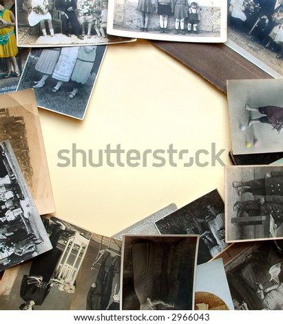 Vintage legs. Very old photographs as frame