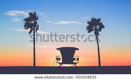 vintage lifeguard tower at the...