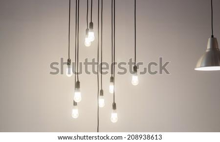 Vintage light hanging decorated shop, stock photo
