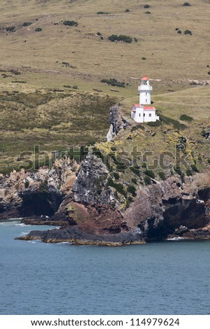 Vintage light house, Taiaroa Head, South Island, New Zealand.