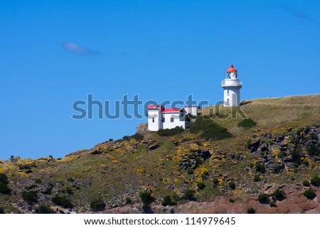 Vintage light house, Taiaroa Head, South Island, New Zealand.
