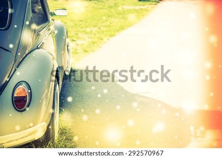 Vintage light lamp car - vintage , light leak , snow effect processing style pictures