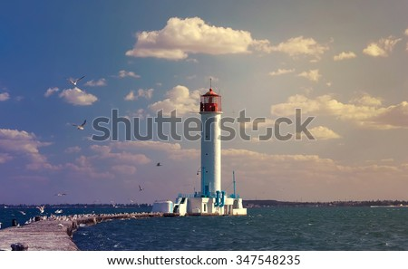 Vintage Lighthouse in Odessa harbor, Ukraine