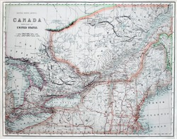 Vintage line colored map of America & Canada, printed in 1860.