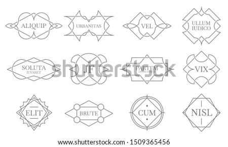 Vintage lineart badges. Line stamp frame, decorative badge label and retro lines emblem. Grades marking accredition, certified emblems or heraldry logo.  isolated symbols set