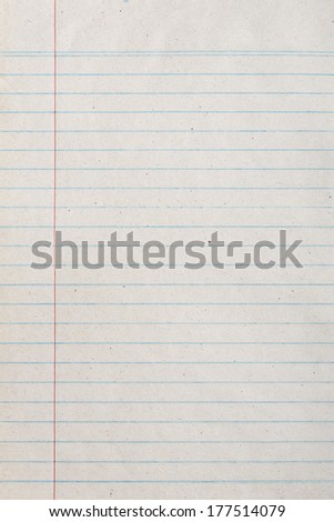 Vintage lined paper or notebook paper texture with left margin