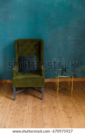 Vintage living room in emerald colors #670975927