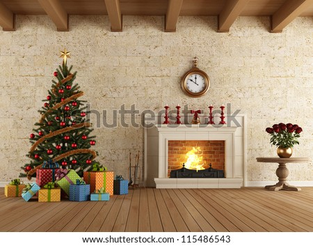 Vintage living room with christmas tree gift and fireplace - rendering