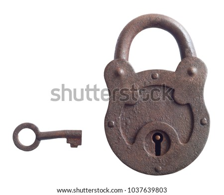 vintage lock and key on white background #1037639803