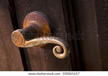 vintage lock with rust and door