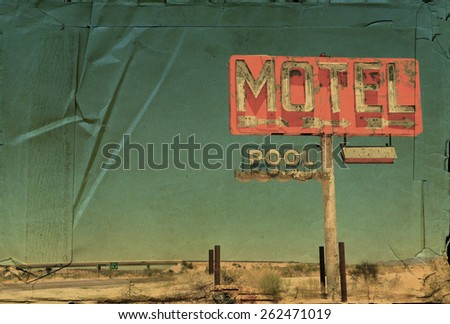 Vintage look of an old motel sign on an interstate in the American southwest.