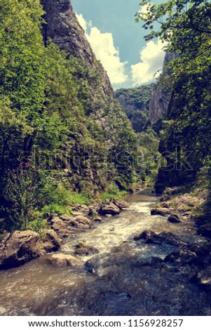 vintage look of mountain river...