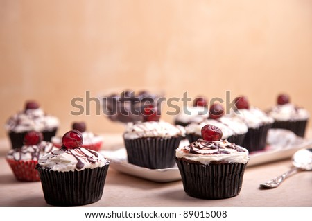 vintage look picture of cherries cupcakes
