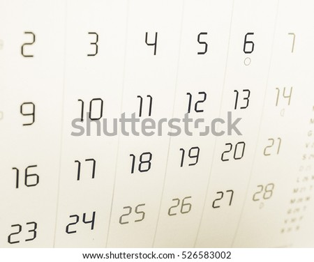 Vintage looking Detail of a calendar page with dates #526583002