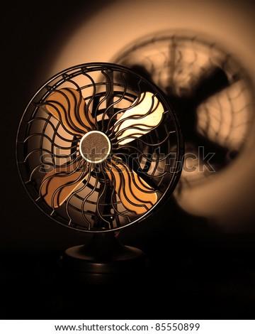 vintage looking fan,low lighting effect