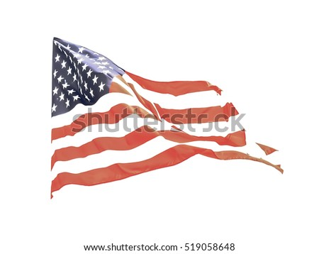 Vintage looking Flag of the USA (United States of America) floating in the wind #519058648