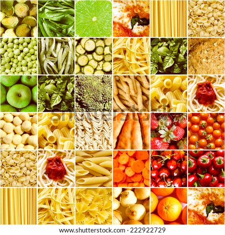 Vintage looking Food collage including pictures of vegetables fruit pasta and more