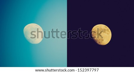 Vintage looking Full moon over the sky at day and night