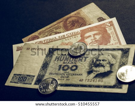 Shutterstock Vintage looking Money from the Communist countries: CCCP SSSR DDR Cuba