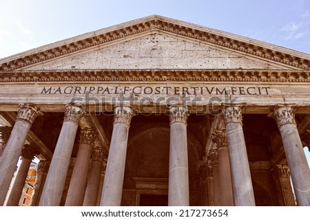 Vintage looking Pantheon temple to all Gods Rome Italy
