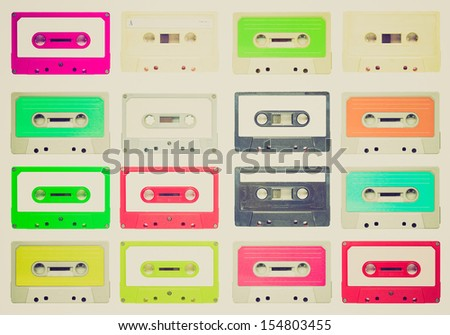 Vintage looking Set of magnetic tape cassette for audio music recording - isolated over white background