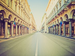 Vintage looking Via Roma central high street in Turin Italy