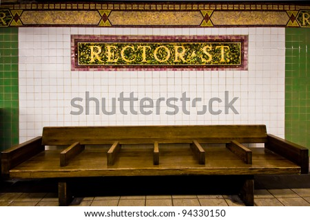 Vintage looking waiting area at landmark NYC subway station at Rector Street.