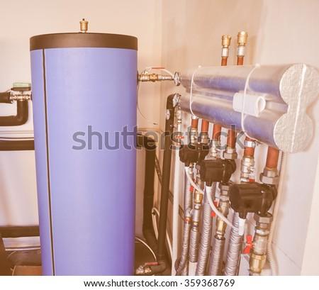 vintage looking water tanks in...