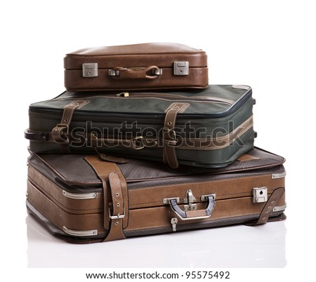 Vintage luggage, isolated over a  white background